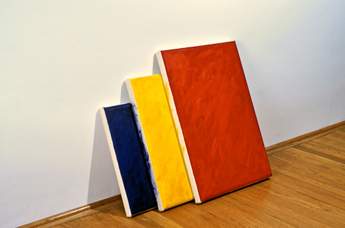 Red Yellow Blue Leaning Canvases