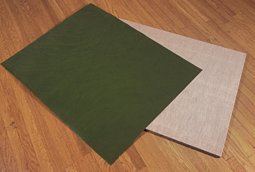 Green paper dropped on raw linen (view 2, 1992-95)